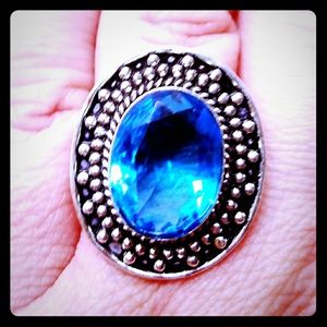 Large London Blue Topaz Ring In Sterling Silver